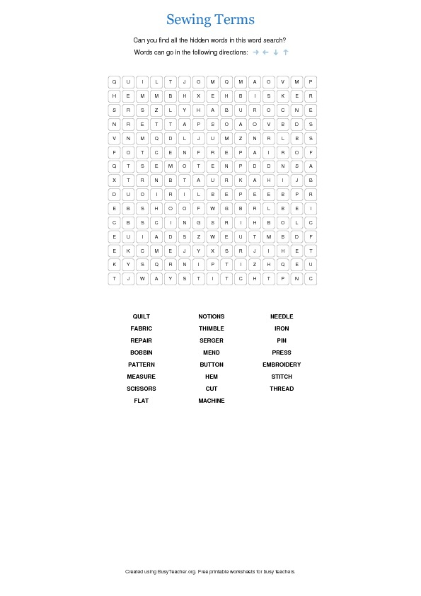 Sewing Terms Word Search Puzzle