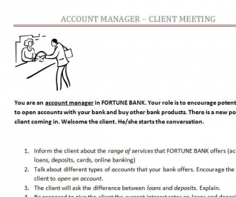 Bank Account Manager - Client Meeting Role Play