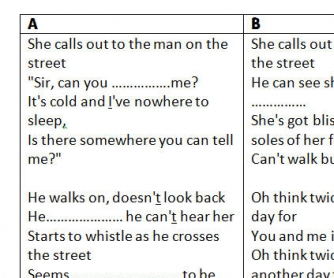 Song Worksheet: Another Day In Paradise by Phil Collins