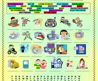 Daily Routines Wordsearch