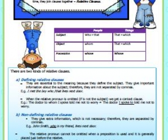 Defining and Non-Defining Relative Clauses Worksheet