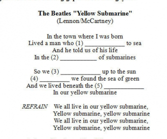 Song Worksheet: Yellow Submarine by The Beatles