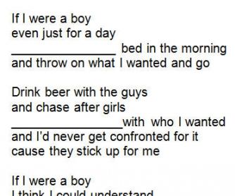 Song Worksheet: If I Were A Boy by Beyoncé