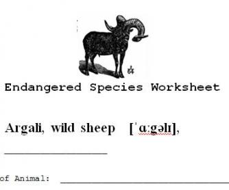 Endangered Species Worksheet