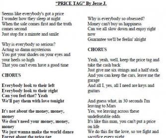Song Worksheet: Price Tag by Jesse J