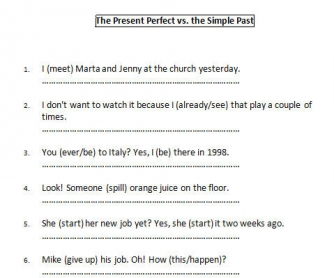 The Present Perfect vs. The Simple Past