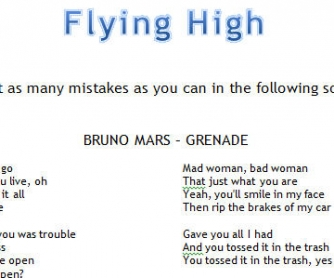 Song Worksheet: Grenade by Bruno Mars