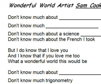 Song Worksheet: Wonderful World by Sam Cooke