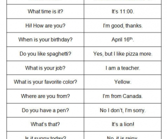 ESL Question/Answer Game