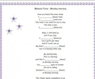 Song Worksheet: Monday Morning by Melanie Fiona