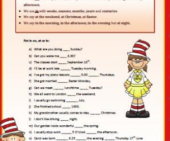Prepositions of Time (at,in,on) Elementary Worksheet
