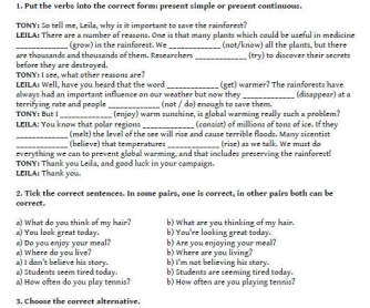 Grammar Exam Sheet: Pre-Intermediate (adult learners)