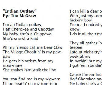 Song Worksheet Indian Outlaw By Tim Magraw