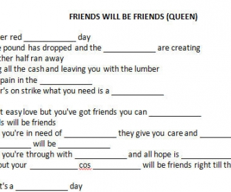 Song Worksheet: Friends Will Be Friends by Queen