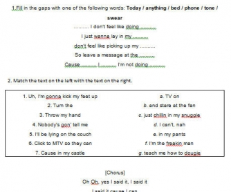 Song Worksheet: Lazy Song by Bruno Mars