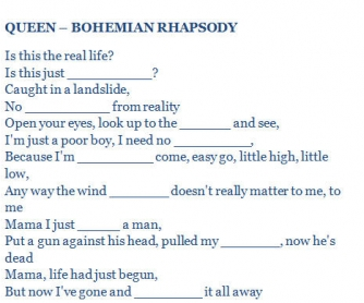 Song Worksheet: Bohemian Rhapsody by Queen
