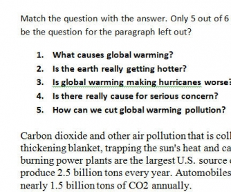 Global Warming Worksheet