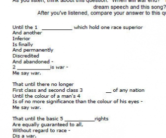 Black Awareness Day Worksheet - (MLK I Have A Dream Speech - WAR Bob Marley song)
