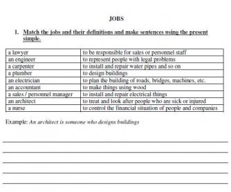Jobs Worksheet