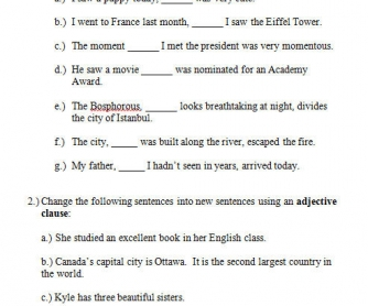 Printables Adjective Noun And Adverb Clauses Worksheet 18 free adjective clauses worksheets worksheet