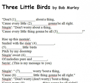 Song Worksheet: Thee Little Birds by Bob Marley