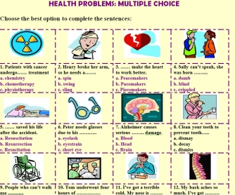 Health Problems: Multiple Choice Worksheet