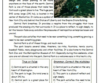 Central Park Reading Worksheet