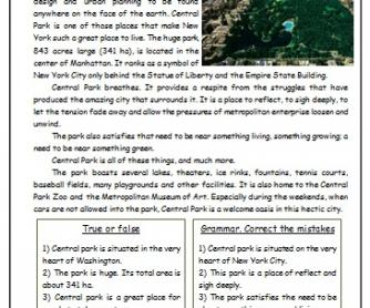 Central Park Reading Worksheet