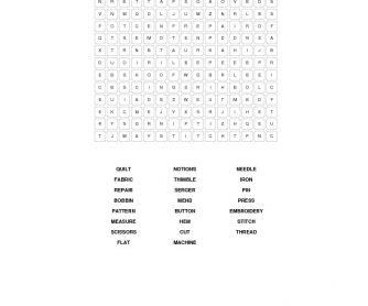 sewing equipment word search