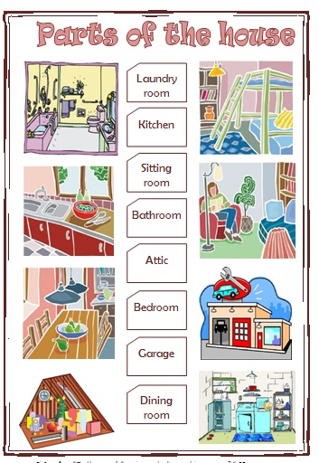 Parts of the house elementary worksheet for Dining room y sus partes