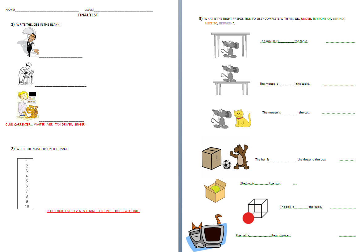Final Test [kids]: Jobs, Numbers, Prepositions Of Place
