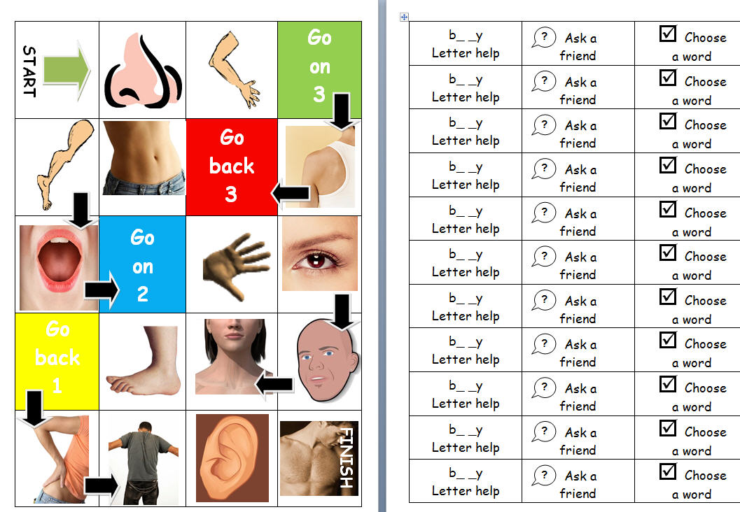 Body Parts Board Game