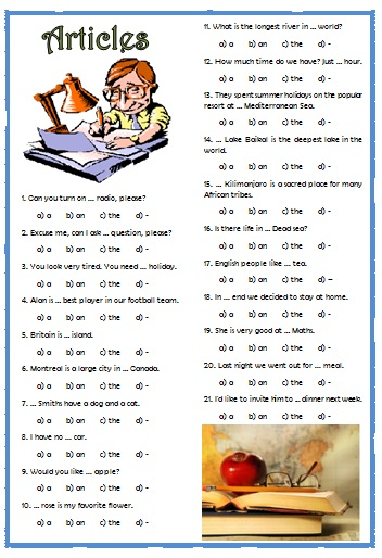 english articles and reviews test