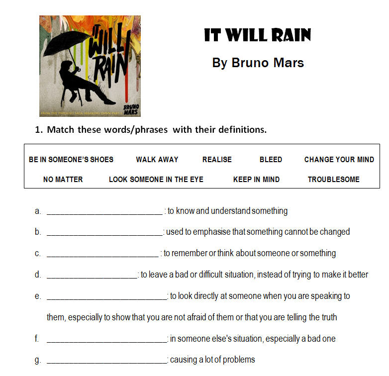Worksheets Will Worksheet will worksheet pixelpaperskin it rain by bruno mars