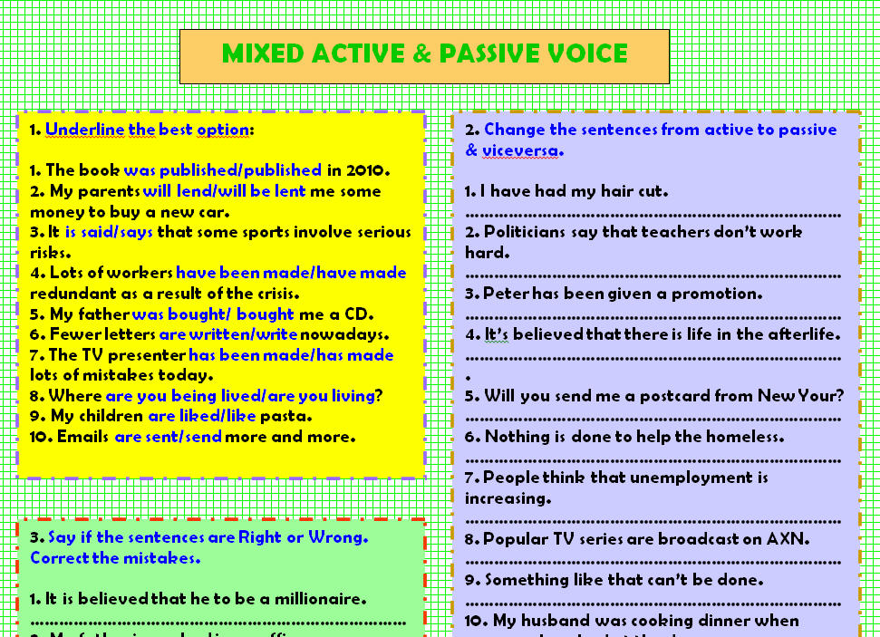 Active Passive Voice Worksheet – Active Passive Voice Worksheet