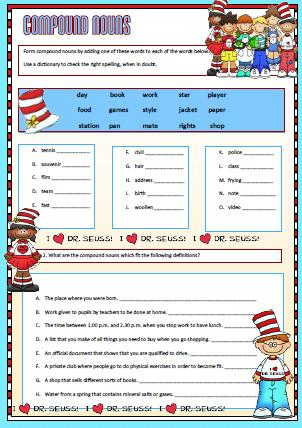 Worksheet Compound Nouns Worksheet compound nouns worksheet