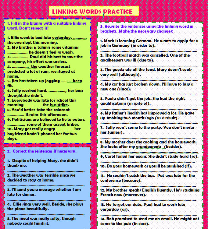 Linking Words: Practice Worksheet