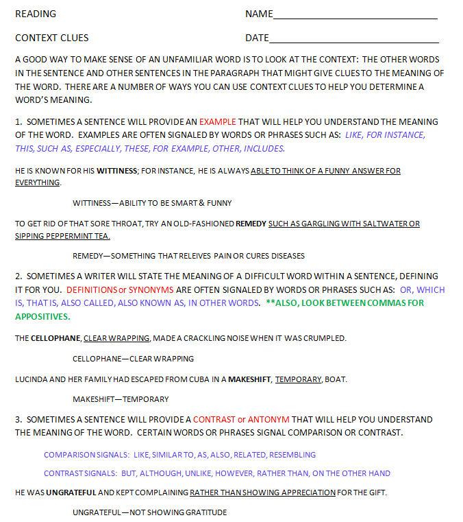 worksheet. Using Context Clues Worksheets. Grass Fedjp Worksheet ...