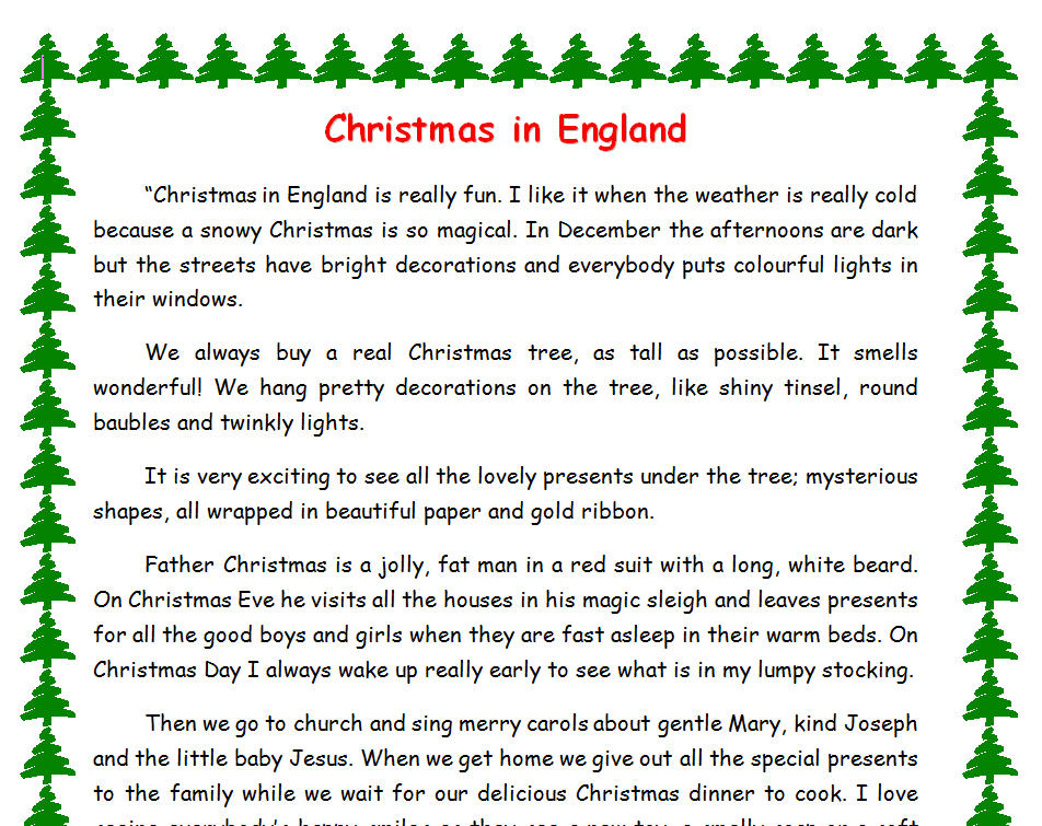 Christmas In England: Adjectives Exercise
