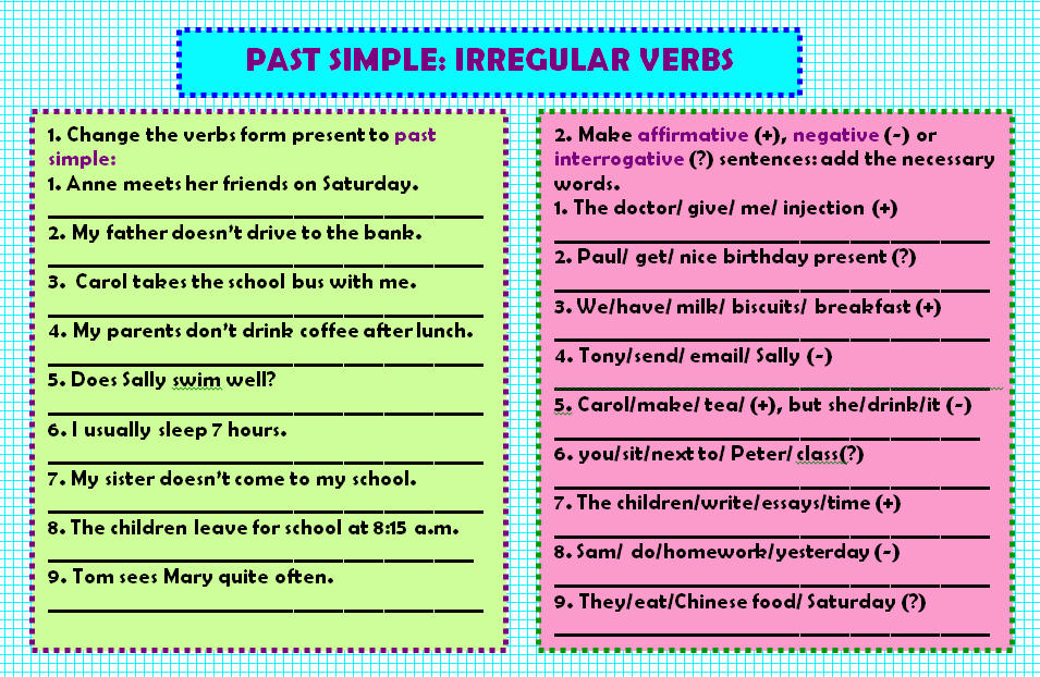 Past Simple Irregular Verbs Worksheet