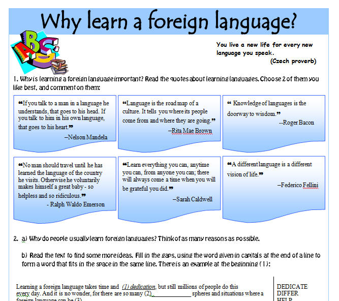 essay about learning another language