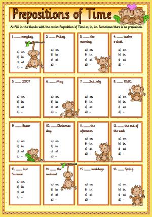 Prepositions of Time: Multiple Choice Activity