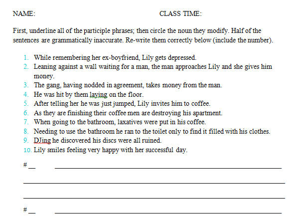 Song Worksheet: Smile by Lily Allen [Participial Phrases]