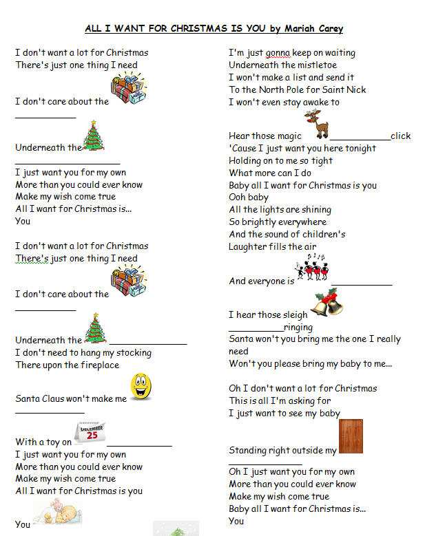 Worksheet: All I Want For Christmas by Mariah Carey [WITH VIDEO]