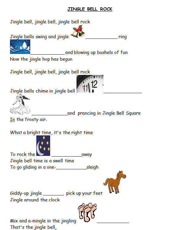 picture regarding Jingle Bells Lyrics Printable named Track Worksheet: Jingle Bell Rock [WITH Movie]