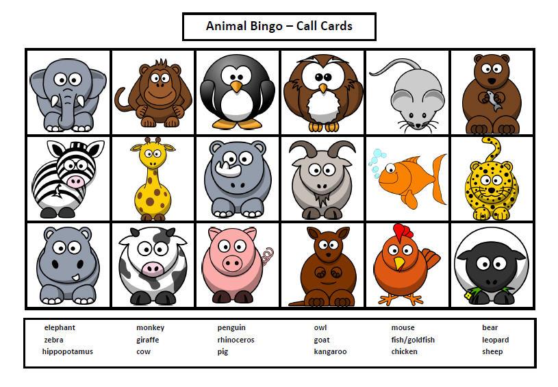 photograph about Animal Bingo Printable titled Animal Bingo