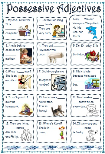 8635 Possessive Adjectivespronouns on Pre Writing Activities 12