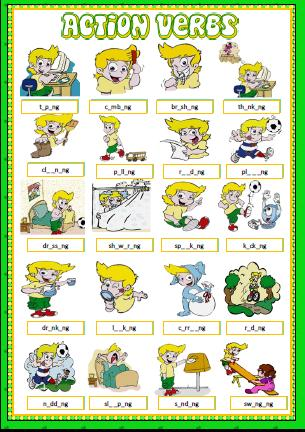Amazing Action Verbs: Missing Vowels Activity  Action Verbs