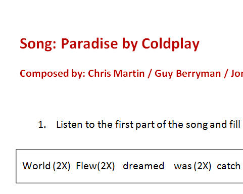 paradise by coldplay song analysis What is the song paradise from coldplay about update cancel  is there a specific name for the building of a climax during a song, such as in paradise by coldplay.