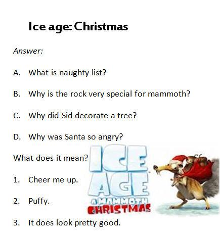 Cartoon Worksheet Ice Age A Mammoth